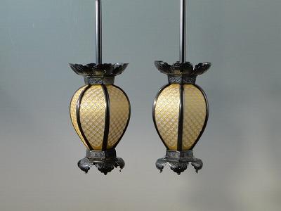 釣り(吊り)灯籠/真鍮製インゲン型釣り灯籠 中型(いぶし色)