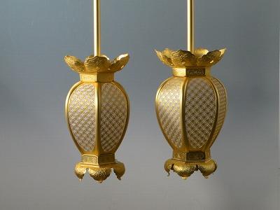 釣り(吊り)灯籠/真鍮製インゲン型釣り灯籠 大型(消し金メッキ)