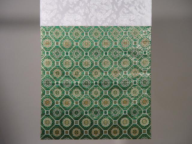 四角打敷き(金襴の布) 尺六 正絹 緑地 蜀甲柄