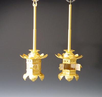 灯籠/神前灯籠 1.5寸本金消しメッキ(西本願寺用)
