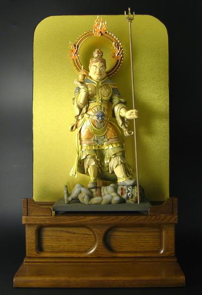【仏像】楠製 毘沙門天 淡彩切金仕上 台付 ★ゴクラク堂★