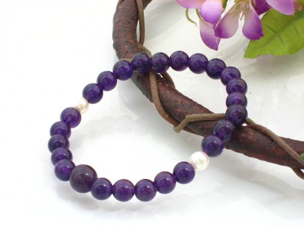 紫水晶 7mm ブレス 本真珠二天 【念珠】★ゴクラク堂★