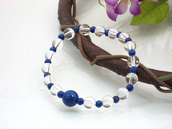 数珠天然石ブレスレット ラピスラズリ(瑠璃) 水晶 33玉 【念珠】★ゴクラク堂★