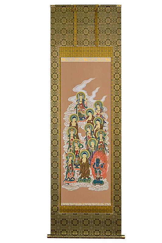 【床掛軸】「十三仏」手書き (直筆/手書き/肉筆)◆高級桐箱付き/緞子表装《八宗用》法事 法要 床の間 床軸 掛け軸 床掛軸 手書掛軸 掛軸 十三佛