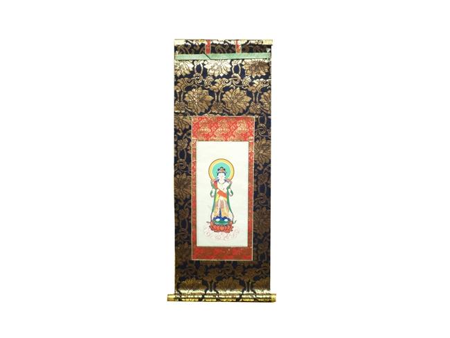 【掛軸】聖観音菩薩-掛軸 100代日本製職人手書き 絹本仕様《上金襴仕立》仏壇用掛軸 観音掛軸 訳あり商品 アウトレット商品 ミニ仏壇用掛軸