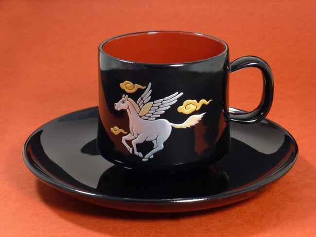 【コーヒーカップ】加古川金箔細工コーヒーカップ『天馬』「天馬」書き漆塗仕様贈答品 木製品 伝統工芸品