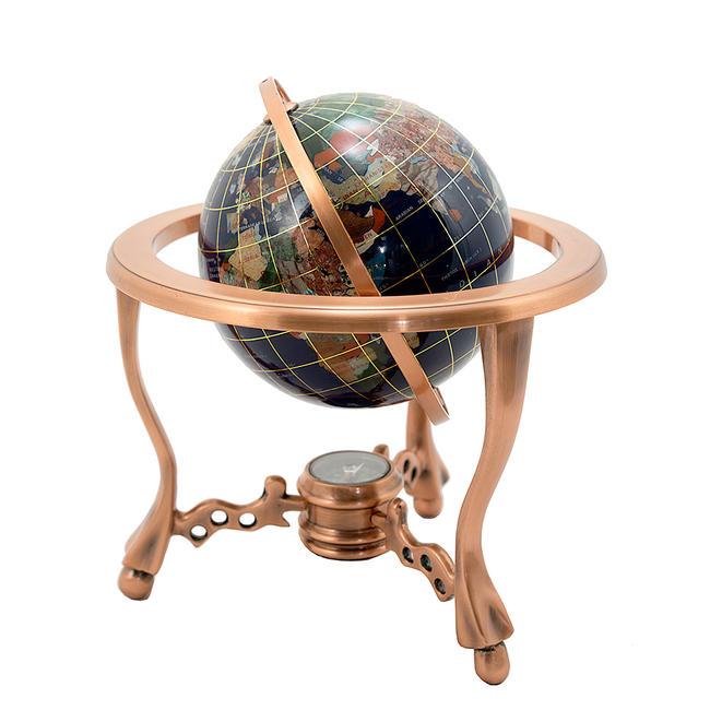 【工芸品】「ラピスラズリ製地球儀」石製お飾り 石製オブジェ 石置物 縁起物 お守り 地球 地球儀 アース 贈り物 プレゼント 贈答品