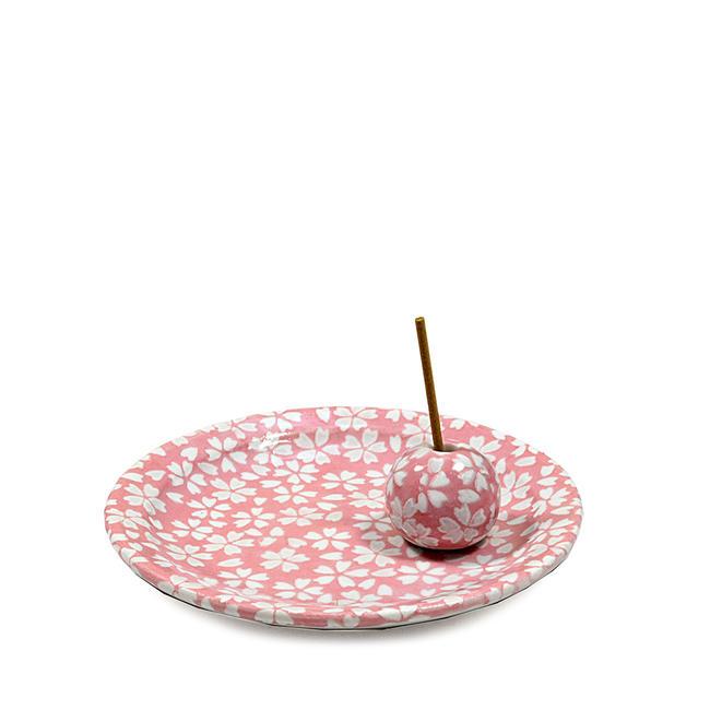 《送料240円(郵便)》かわいい桜模様のお香立てとお香皿のセットです。★日本製お香立てです。 【お香立て・香皿セット】「花桜」お香立て香立て お部屋のお香立て 香道 さくら 桜 サクラ