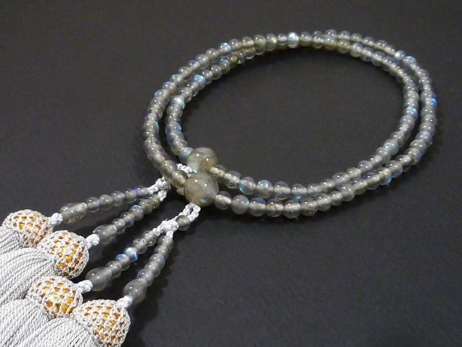 【数珠】女性用108玉本式数珠『ラブラドライト』8寸(108玉仕様-正絹房仕様)★高級数珠★八宗用数珠 本式数珠念珠 天然石数珠 女性用数珠 京念珠 京都数珠