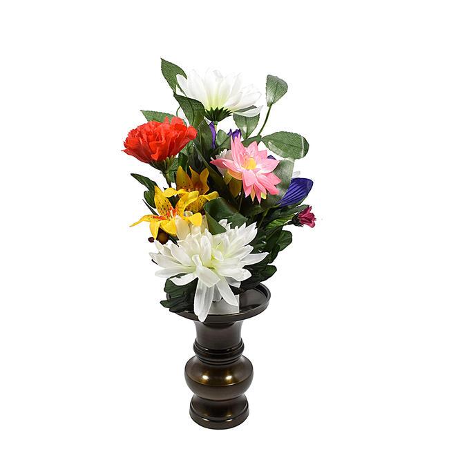 ミニサイズの仏様用の仏花です 暑い時期には特におすすめ 花立て別売です 特別品花部分高さ23cm 売り込み 全長35cmです コンパクトなお仏壇によく合います (訳ありセール 格安) 仏花 仏壇用 花部分高さ約23センチ 造花 小サイズ お盆仏花 お供え花 お彼岸仏花 コンパクトサイズです
