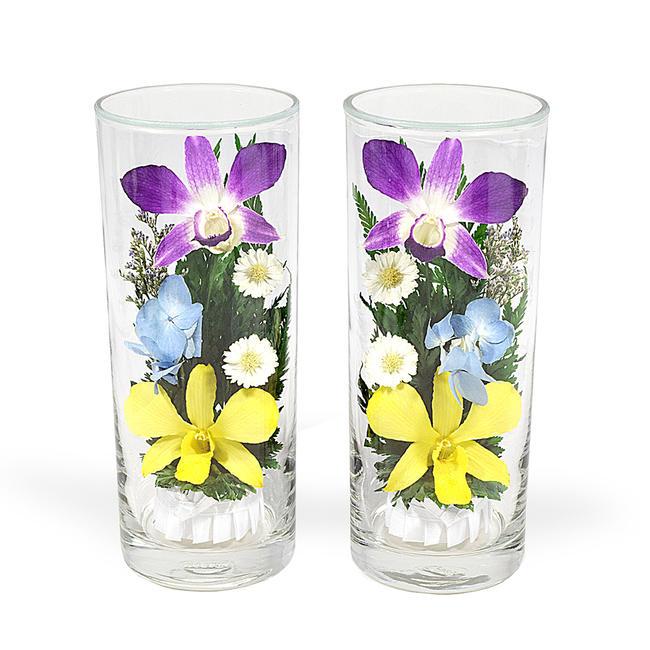 ガラスの器に入ったオシャレな プリザーブドフラワー です 暑い時期には特におススメです お仏壇の仏花にもおすすめです プレゼントにもお勧めです 即納最大半額 仏花 ガラスインフラワー Lサイズ一対 お供え花 箱付き※全体高さ約17センチ プレゼントお花 お盆仏花 造花 お彼岸仏花 NEW 2本セット コンパクトサイズプリザーブドフラワープリザーブドフラワー