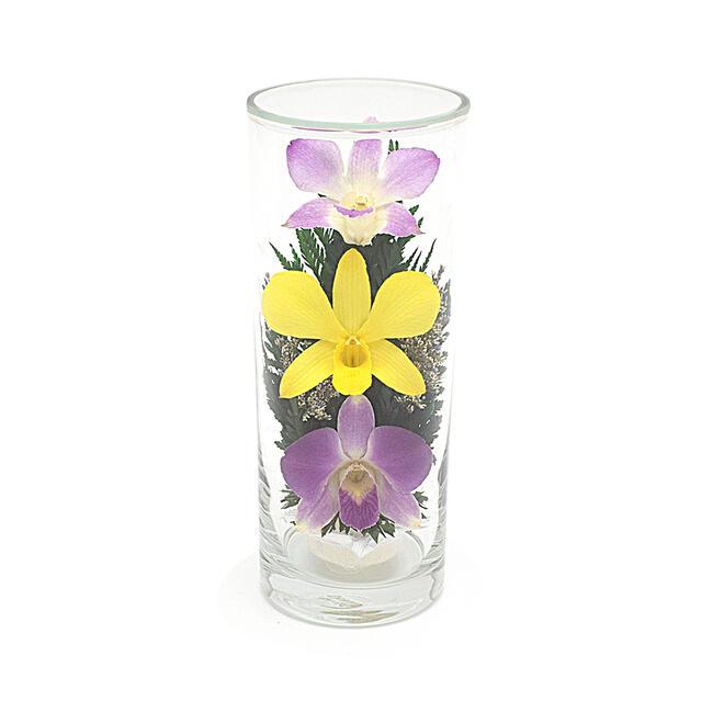 ガラスの器に入ったオシャレな プリザーブドフラワー です 記念日 暑い時期には特におススメです お仏壇の仏花にもおすすめです プレゼントにもお勧めです アウトレット☆送料無料 仏花 ガラスインフラワー Lサイズ※シングルタイプ 1本入り お供え花 プレゼントお花 お盆仏花 限定品プリザーブドフラワー 箱付き※全体高さ約17センチ 造花 お彼岸仏花