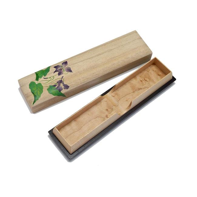 【線香入れ】木製 すみれ蒔絵入り「お線香入れ」(日本製)★木製品★手作り品線香差し 仏具 線香入れ 木製線香差し 現代仏具
