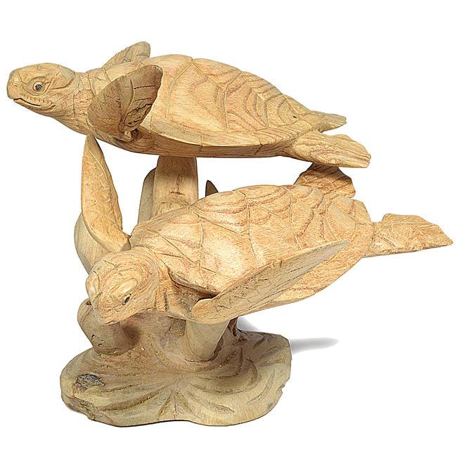【工芸品】木彫り置物「二頭のウミガメ」木製品 木製オブジェ 木製置物 縁起物 お守り 海ガメ 海がめ ウミガメ うみがめ 海亀 海カメ 木彫り 動物小物 プレゼント 贈り物 贈答品