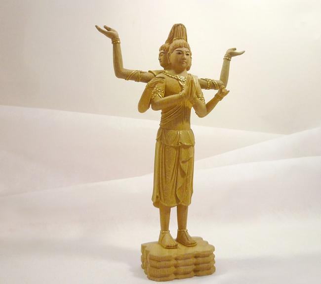 【仏像】木製仏像「阿修羅像」4寸(総丈19cm) クスノキ材/眼入り/金泥仕上げ三面六臂の阿修羅のお仏像です。 仏壇用仏像 あしゅら像 曹洞宗仏像 木製仏像
