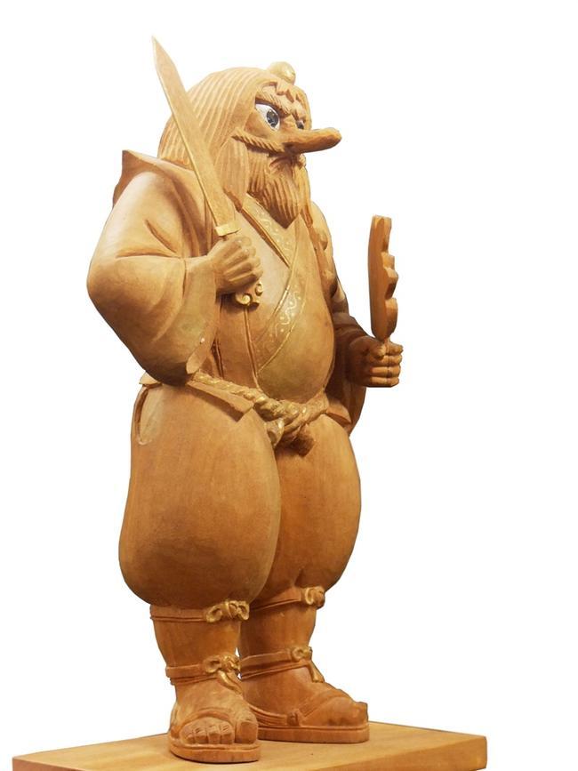 【仏像】天狗像(老山白檀製)手彫り 老山白檀製天狗 てんぐ お厨子 厨子 仏像 木製仏像 白檀仏像 サンダルウッド