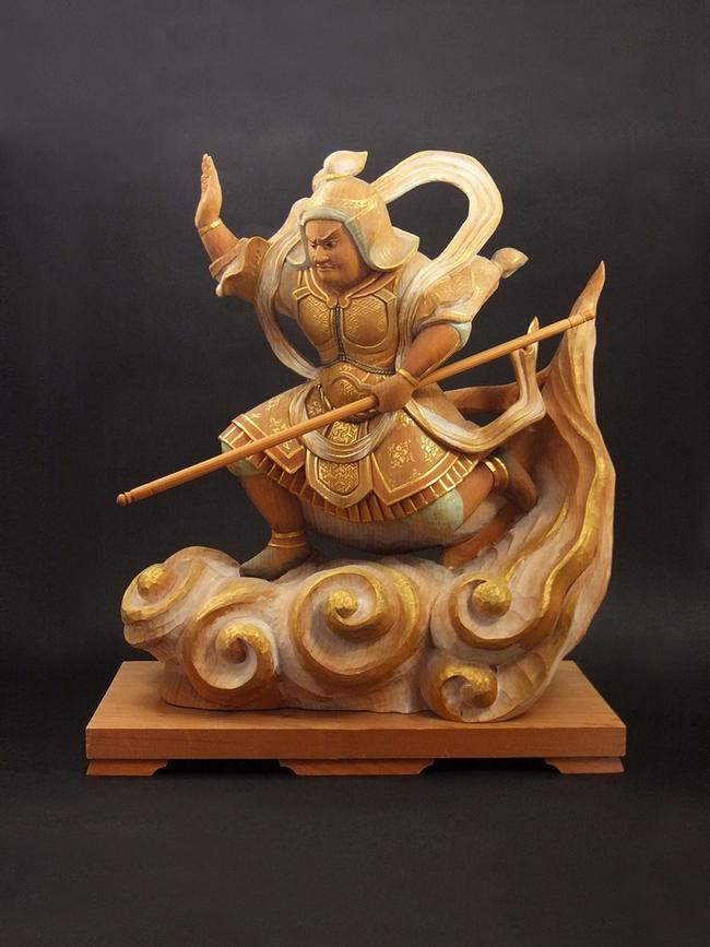 【仏像】大佛師「松久宗琳」作『韋駄天』◆落款入り◆木製仏像 韋駄天様 大仏師作