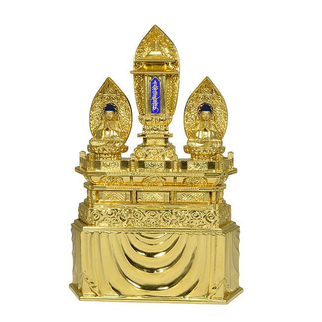 【仏像】仏像「三宝尊」1寸8分(総丈42.5cm) 国産★アウトレット特別価格◆訳あり品純金箔を施した煌びやかなお仏像です。仏壇用仏像 法華宗仏像 日蓮宗仏像 木製仏像 金箔仏像