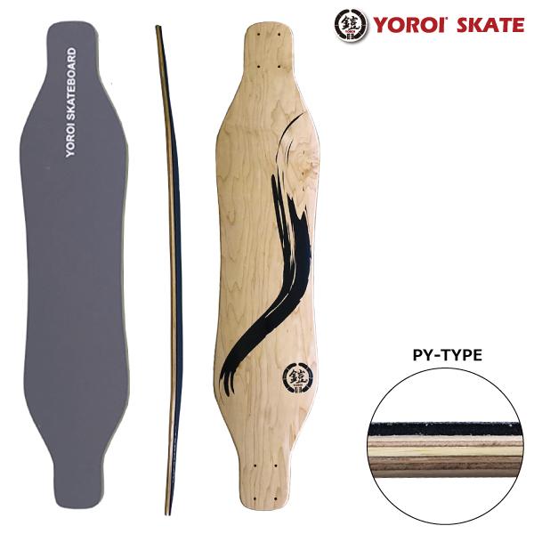 ロングスケートボードデッキ カービングスケートボードデッキロンスケ38インチデッキ YOROI SKATEBOARD RYU38スノボオフトレスケボーデッキバンブーデッキ 大胆なしなりホイールベース長めデッキ 硬め