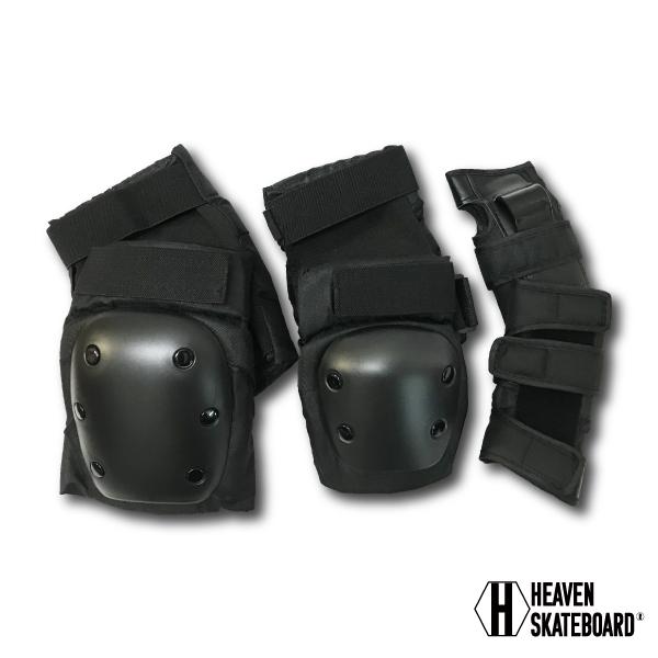 ヒザ ヒジ 手首の左右セット 怪我の予防に HEAVEN ヘブン 防具 マート プロテクト抜群 手首 肘 訳あり品送料無料 膝 スケートプロテクター3点セットプロテクター
