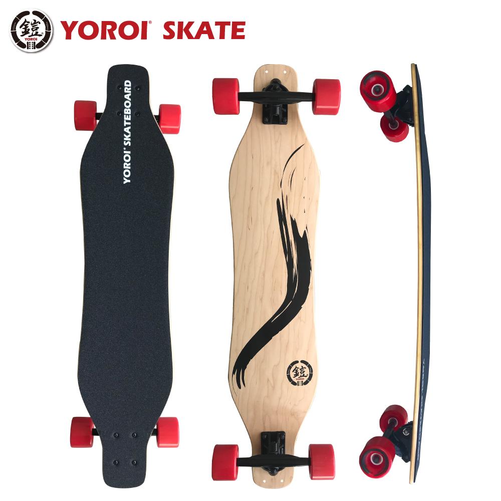 ロングスケートボード カービングスケートボードロンスケ38インチ完成品YOROI SKATEBOARD RYU38スノボオフトレ バンブーデッキ大胆なしなり ホイールベース長めデッキ