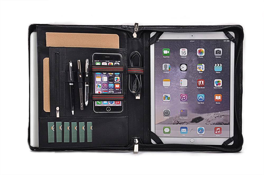 iPad Proや13インチMacBook用ケース 本革レザーオーガナイザー 多機能ファイル フォリオケース
