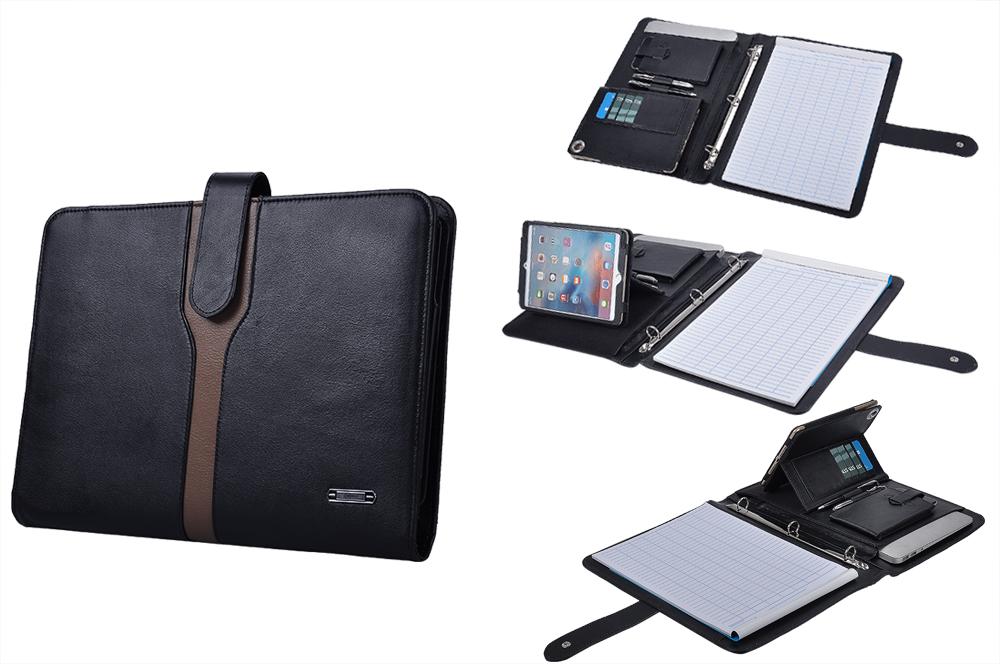 定番デザイン高級本革レザー iPad Mini 4用手帳型フォルダー  3穴式リングバインダー付きシステムフォルダー A4サイズ