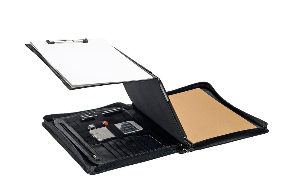 折り畳み中央パネル搭載 プレミアムレザー牛革製多機能フォルダー オーガナイザーパッドフォリオ Galaxy Tab / Note用