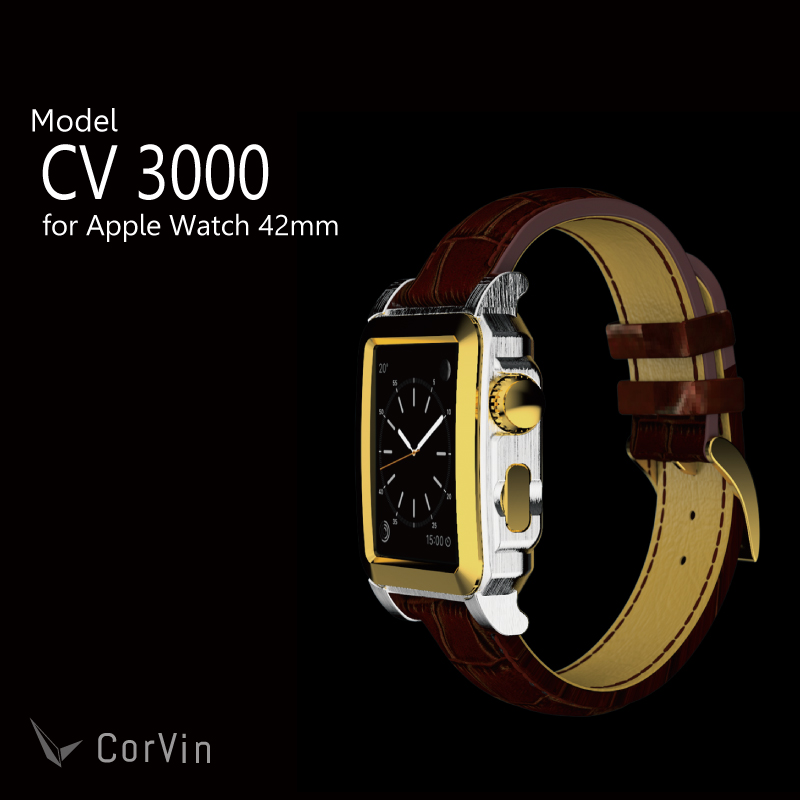 Premium Accessories for Apple Watch 42 mm (CV3000 series) leather band silver and Brown /Apple the Watch case band