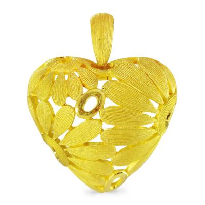 純金 24K デイジー 花 ハート ペンダント レディース 女性 イエローゴールド プレゼント 誕生日 贈物 24金 ジュエリー アクセサリー ブランド プリマゴールド PRIMAゴールド K24 送料無料