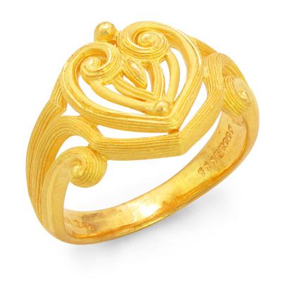 純金 24K 指輪 ハート リング レディース 女性 イエローゴールド プレゼント 誕生日 贈物 24金 ジュエリー アクセサリー ブランド プリマゴールド PRIMAゴールド K24 送料無料