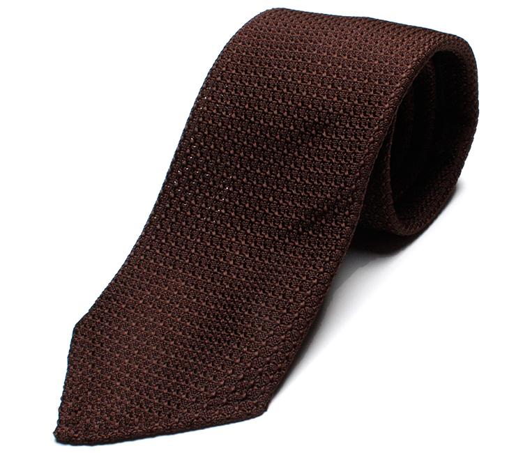 DRAKE'S『ドレイクス』英国製ネクタイ 正規取扱店 DRAKE'S-FHG80R-06654-12-ブラウンソリッド三つ巻