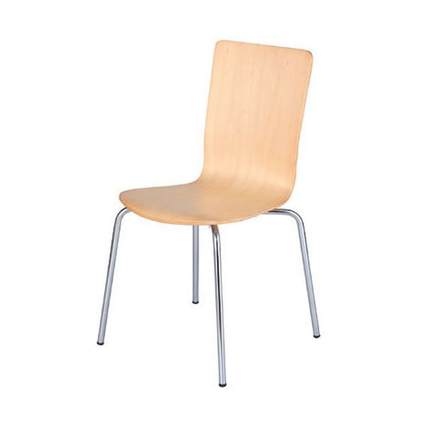 ジョインテックス 会議椅子(スタッキングチェア/ミーティングチェア) 肘なし CH-107 ナチュラル 【完成品】