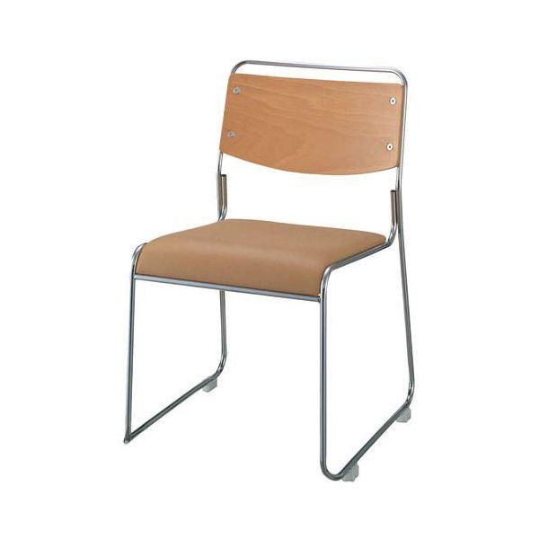 ジョインテックス 会議椅子(スタッキングチェア/ミーティングチェア) 肘なし 座面:合成皮革(合皮) FSN-7L ライトブラウン 【完成品】