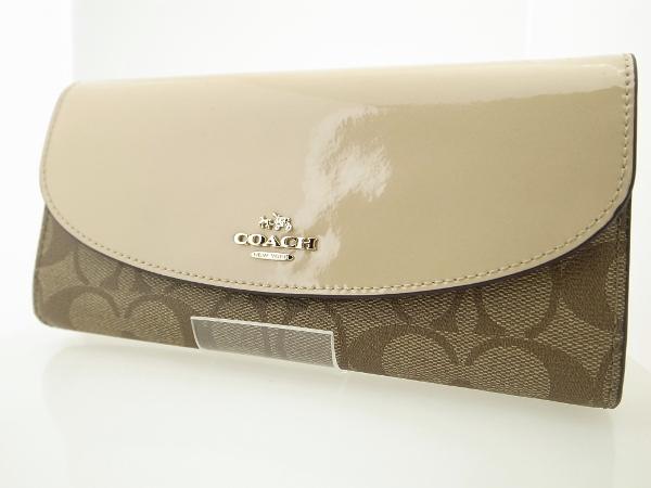 【中古】 コーチ COACH 二つ折り長財布 かぶせ F54022 ベージュ カーキ 質屋出品 USED 【コンビニ受取対応商品】
