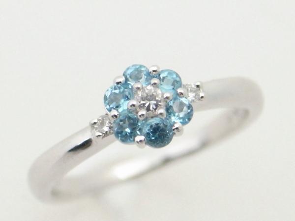 【中古】 スタージュエリー STAR JEWELRY ブルー石ダイヤモンドリング K18WG(18金 ホワイトゴールド)指輪 フラワー 花 質屋出品 USED 【コンビニ受取対応商品】
