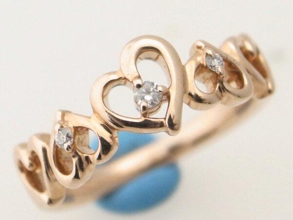【中古】 4℃ ダイヤモンドリング K10PG(10金 ピンクゴールド) 9.5号 指輪 ハート 質屋出品 【コンビニ受取対応商品】
