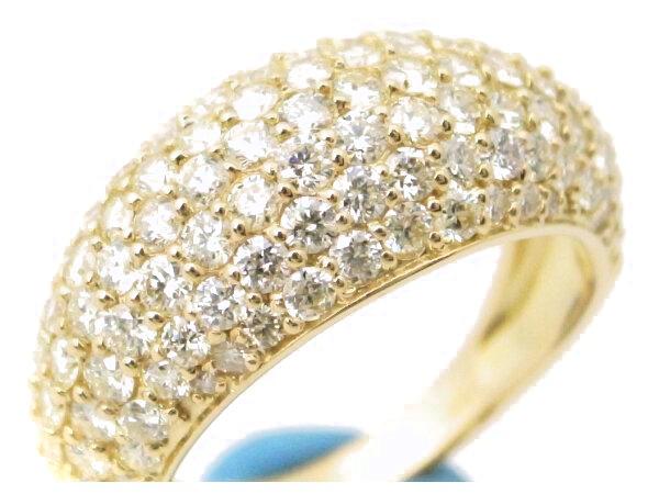 【中古】 ダイヤモンドパヴェリング 18号 K18YG(18金 イエローゴールド) 質屋出品 【コンビニ受取対応商品】