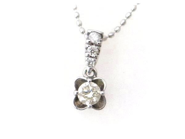 【中古】 4℃ ダイヤモンドネックレス K18WG(18金 ホワイトゴールド) フラワー 花 質屋出品 【コンビニ受取対応商品】