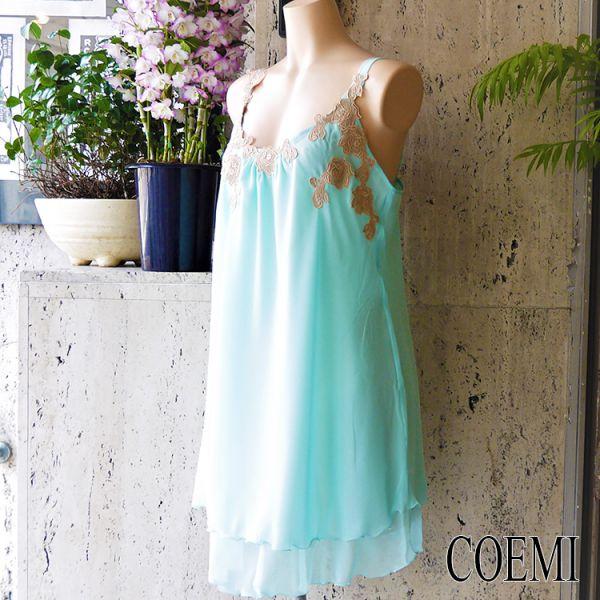 【コエミ(COEMI)】レース付シフォンベビードールナイティ