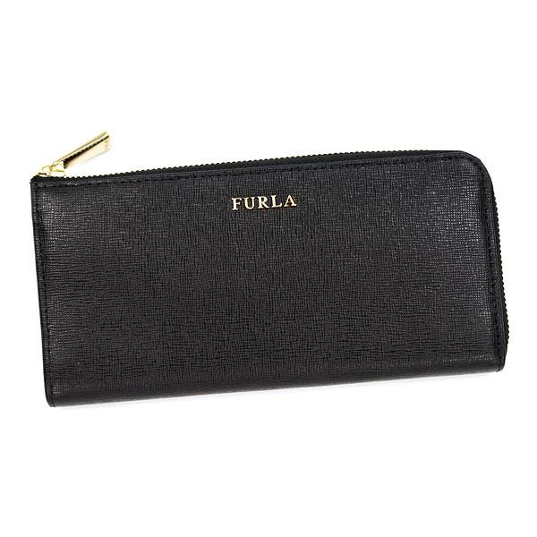 FURLA PN07-755233フルラ L字ファスナー長財布レザーブラック×ゴールド