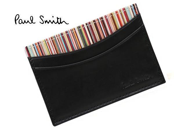 Paul Smith AJXA1772-W567ポールスミス カードケースカーフレザーブラック×マルチカラー