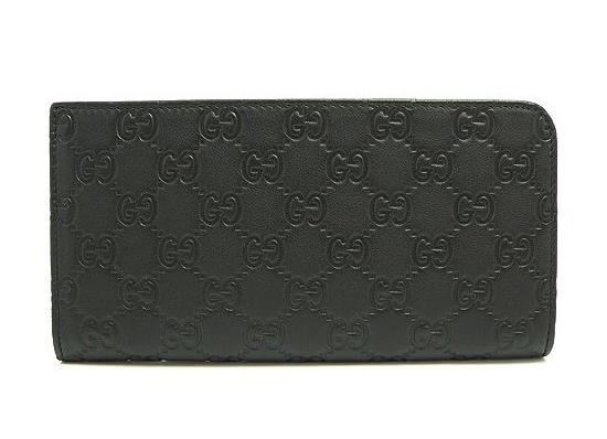 GUCCI 233153-A0V1R-1000グッチ L字ファスナー 長財布グッチシマレザーブラック×シルバー