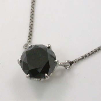 プラチナペンダントネックレス ブラックダイヤモンド1カラットPT900六本爪ネックレス