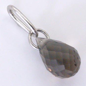 プラチナ(Pt900) スモーキークォーツ (ブリオレットcut)ペンダントヘッドゆうパケット発送は送料無料です