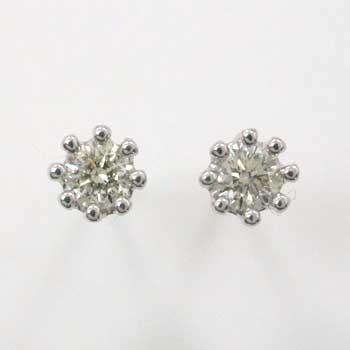 ダイヤモンド 0.1カラットx2石 ミルククラウン 八本爪 ピアスtypeAAA(シリコンキャッチ付)18金ゴールド(K18)、ホワイトゴールド(K18WG)、イエローゴールド(K18YG青金)の3種類からお選びください。送料無料