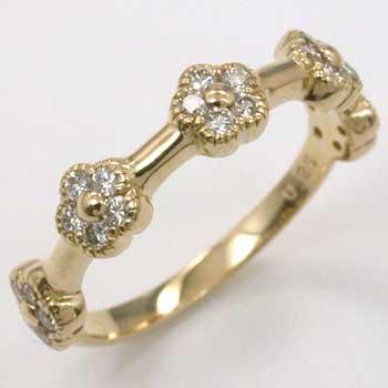 18金ゴールド ダイヤモンド0.25ctフラワー ピンキーリングtypeAA送料無料