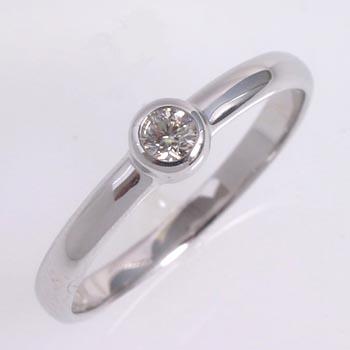 18金ホワイトゴールド(K18WG)ダイヤモンド 0.1カラット フセコミ シンプルダイヤモンドリング typeAAA