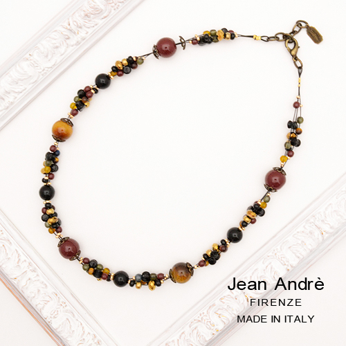 イタリア製 Jean Andre ダーク系マルチカラー天然石 ワイヤーデザイン ショートネックレス レディースジュエリー アクセサリー インポート コスチュームジュエリー パーティー 結婚式 発表会 お呼ばれ