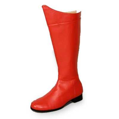 スーパーマン ブーツ 赤 コスプレ ブーツ スーパーヒーローブーツ つやなし コスプレ用グッズブーツ